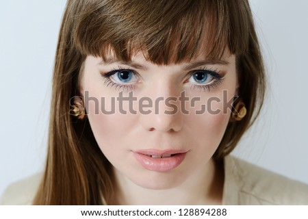 face of pretty woman looking ahaed - stock photo