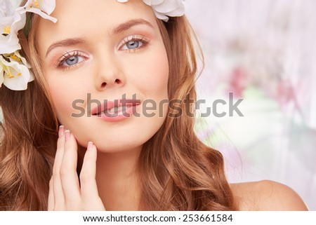 Face of pretty woman with perfect makeup - stock photo