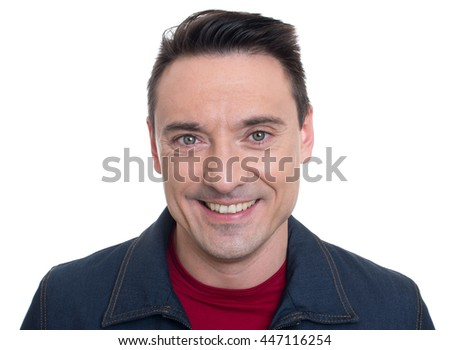 face of smiling handsome young man isolated on white background - stock photo