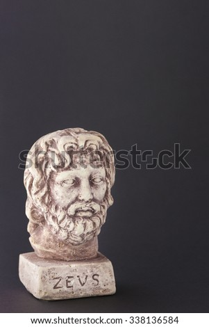 Face of the divine Zeus also called God's daytime sky represented on a dark background