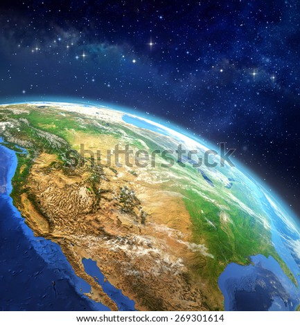 Face of the Earth. Very high definition picture of planet earth in outer space. Elements of this image furnished by NASA - stock photo
