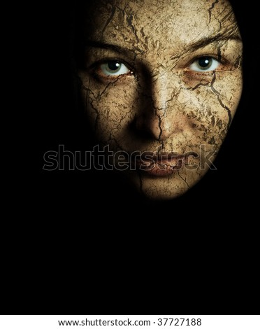Face of woman with cracked dried skin - stock photo