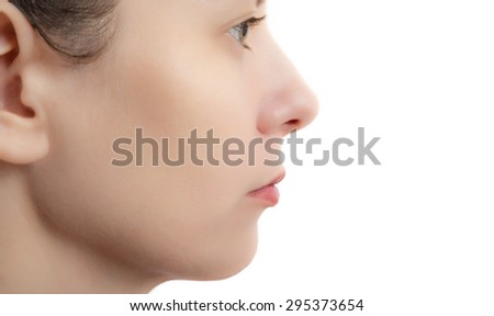 face of woman with smooth skin - stock photo