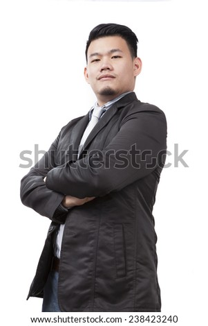 face of young asian man wearing western suit standing and looking upper view isolated white background use for people and business man theme  - stock photo