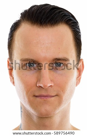 Face of young handsome man with tattoo on neck