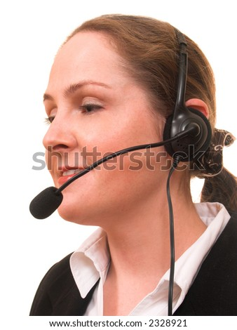 Face of young woman with phone headset talking and smiling isolated on white