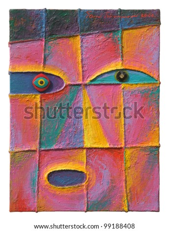 Face 14. Original acrylic painting on canvas. - stock photo