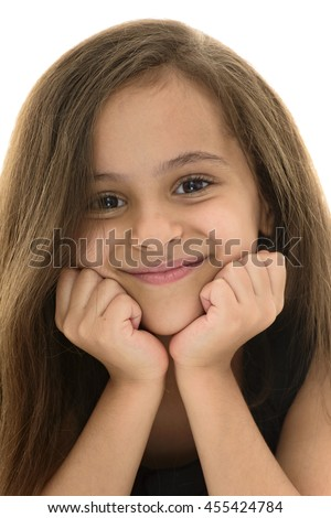 Face Portrait of Attractive Young Girl With Beautiful Smile Isolated on White Background - stock photo