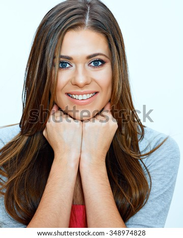 face portrait of smiling woman. close up.  Isolated portrait. Long Hair.