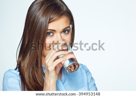 Face portrait of woman drinking water. Smiling girl. Isolated portrait. - stock photo