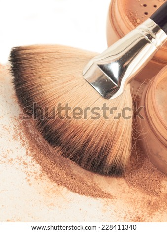 Face powder and brush. close up - stock photo