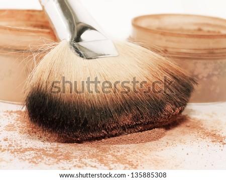 Face powder and brush. macro - stock photo