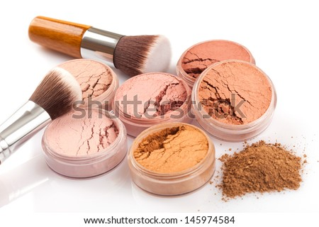 Face powder and brush on white background - stock photo