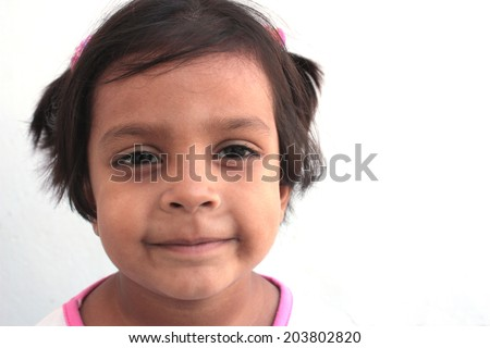 Face shot of adorable girl