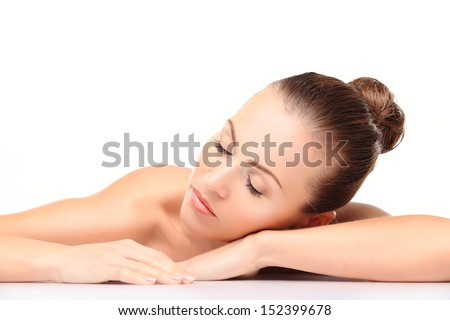 Face skincare beauty woman smiling happy - stock photo