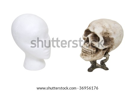 Face to face shown by a blank face staring at a skull on a fancy silver stand - path included