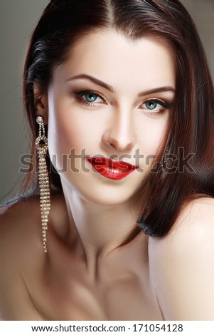 Face woman close up portrait red lips perfect make up  Beauty style - stock photo