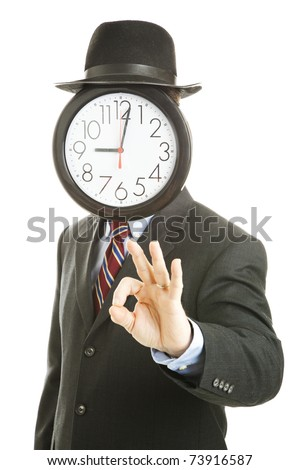 Faceless businessman with a clock for a face, giving the Okay sign.  Isolated on white.