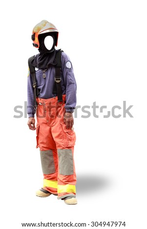 Faceless fireman isolated on white with path a dummy for drop substitute face on - stock photo