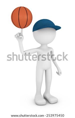 faceless man turns on his finger basketball - stock photo