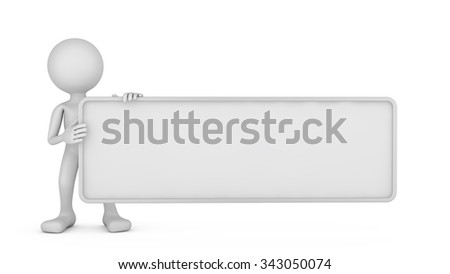 faceless man with signboard on a white background