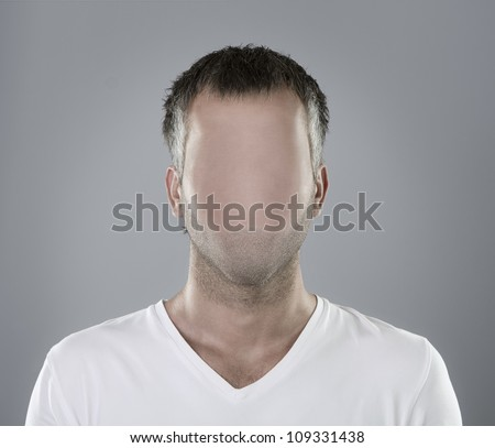Faceless person portrait or real social media icon - stock photo