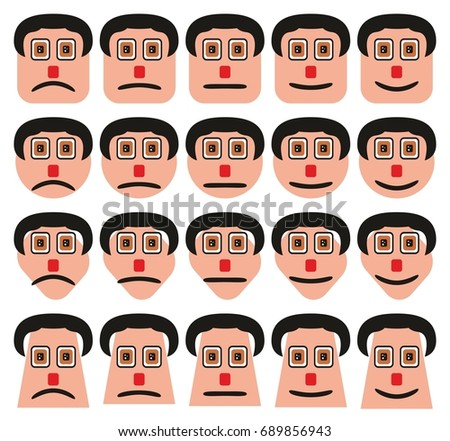 Faces Expressions Icons Set Different Shapes Stock Illustration