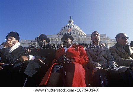 Faces in the crowd on Bill Clinton's Inauguration Day January 20, 1993 in Washington, DC - stock photo