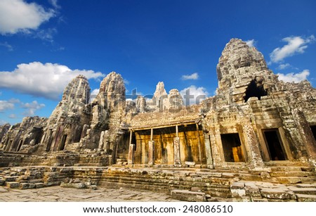 Faces of ancient Bayon Temple At Angkor Wat, Siem Reap, Cambodia  - stock photo