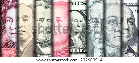 Faces of famous leader on banknotes of the main country in the world - stock photo