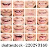 Faces of smiling children. Set of kids smiles. Healthy teeth. Smile. - stock photo