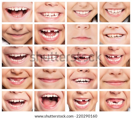 Faces of smiling children. Set of kids smiles. Healthy teeth. Smile.