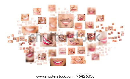 Faces of smiling people in set. Healthy teeth. Smile