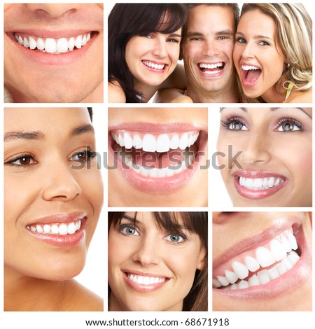 Faces of smiling people. Teeth care. Smile - stock photo