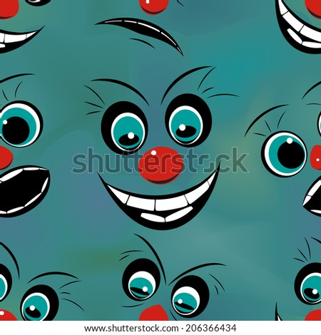 Faces pronounced emotions, seamless pattern, raster graphics - stock photo