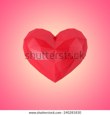 Faceted heart on a pink background - stock photo