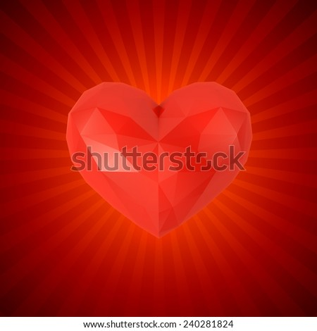Faceted heart on a red background - stock photo