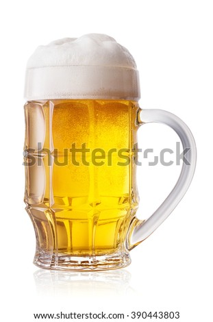 Faceted light beer mug isolated on white background