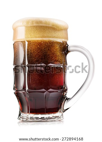 Faceted mug of dark beer isolated on white background