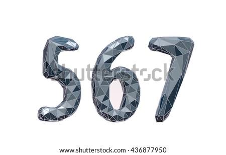 faceted number set 5, 6, 7 3d illustration - stock photo