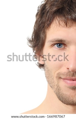 Facial close up of a half attractive man face isolated on a white background