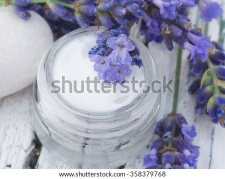 facial cream with lavender - stock photo