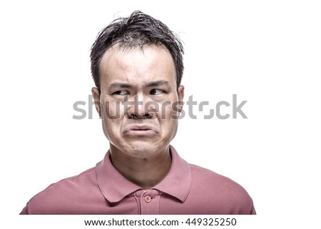 Facial expression : man feeling bored - high contrast