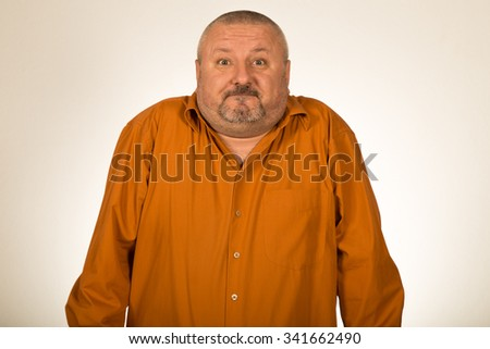 Facial expression of man without ideas - stock photo