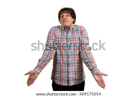 Facial expression of young man without ideas. - stock photo