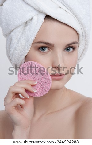 Facial funny portrait  young lady with natural make up - stock photo
