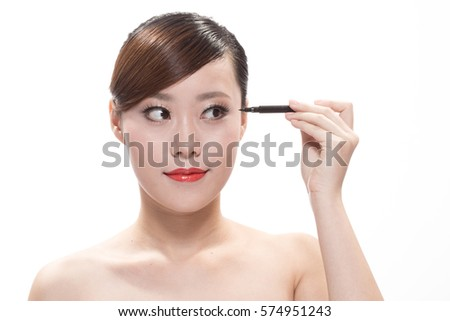 facial makeup of young asian beautiful woman on white background