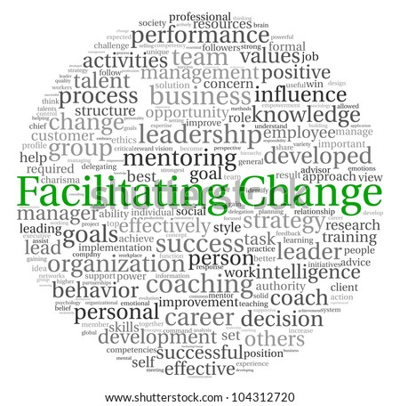Facilitating Change concept in word tag cloud on white background - stock photo