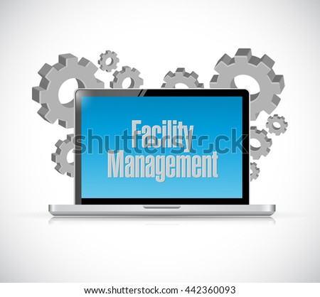 facility management laptop computer sign illustration design graphic