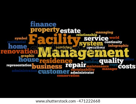 Facility Management, word cloud concept on black background.